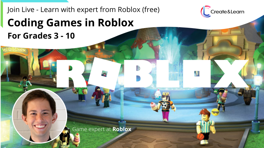 Join live - coding games in Roblox for Grades 3-10 (FREE)