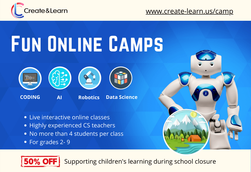 Announcing Online Camps - 50% off to support children's learning during school closure